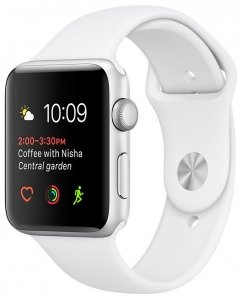 Смарт-часы Apple Watch 38mm Silver with White Sport Band (MNNG2)