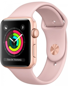 Смарт-часы Apple Watch Series 3 38mm Gold Aluminum Case with Pink Sand Sport Band (MQKW2)