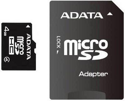 Карта памяти A-Data MicroSDHC 4Gb Class 4 (AUSDH4GCL4-RA1) + SD adapter фото