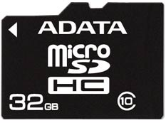 Карта памяти A-Data microSDHC Class 10 32GB with SD adapter AUSDH32GCL10-RA1