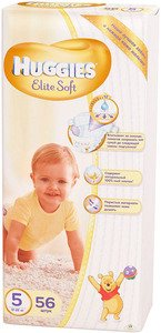 Подгузники HUGGIES Elite Soft 5 (12-22 кг) 56 шт