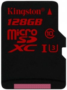 Карта памяти Kingston microSDXC 128Gb Class 10 UHS-I U3 (SDCA3/128GBSP)