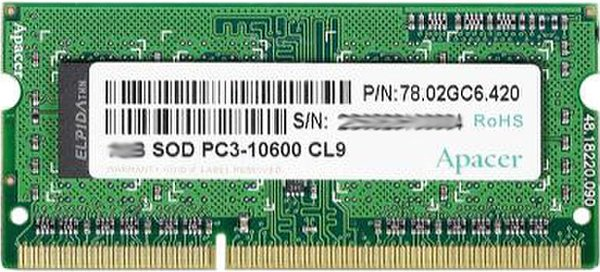 Модуль памяти Apacer AS02GFA60CAQBGC DDR3 PC3-12800 4Gb