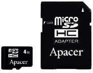 ����� ������ Apacer microSDHC Card Class 4 8GB + SD adapter