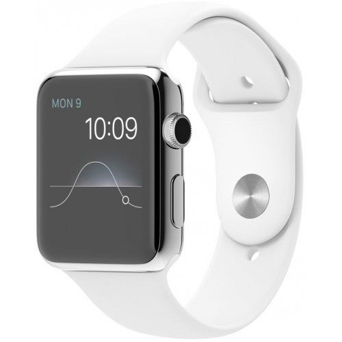Смарт-часы Apple Watch 42mm Stainless Steel with White Sport Band (MJ3V2)