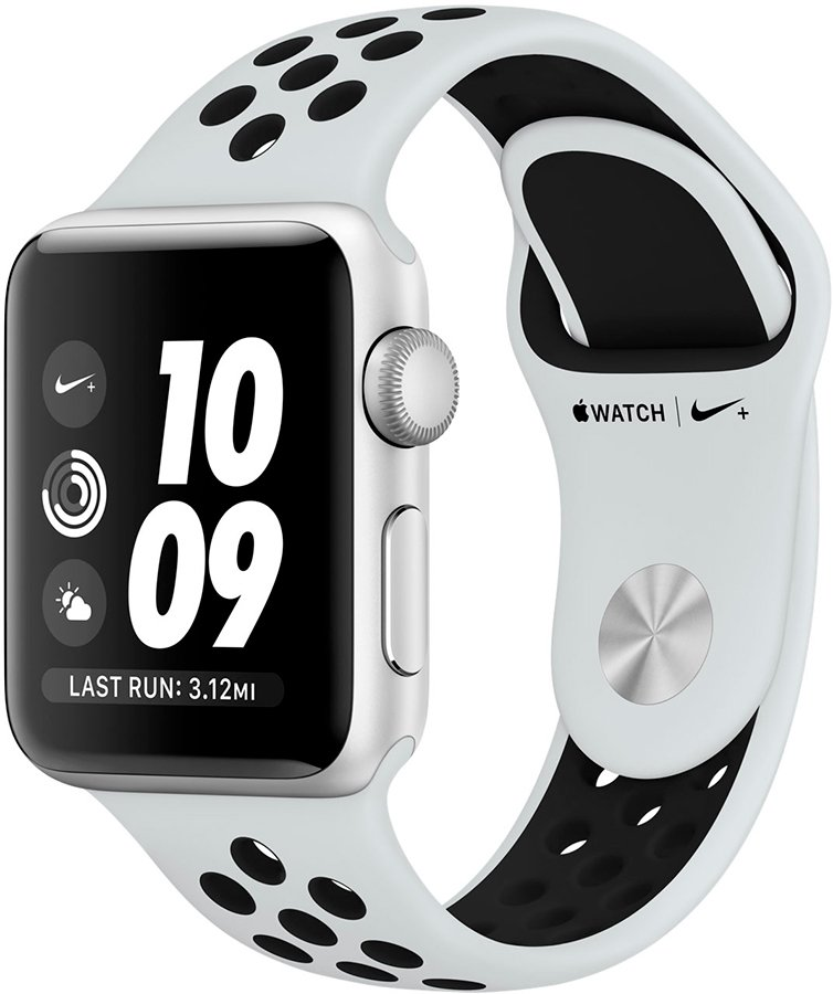 Смарт-часы Apple Watch Nike+ 38mm Silver Aluminium Case with Pure Platinum/Black Nike Sport Band (MQKX2)