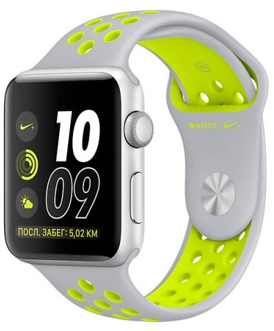 Смарт-часы Apple Watch Nike+ 38mm Silver with Flat Silver/Volt Nike Band (MNYP2) фото
