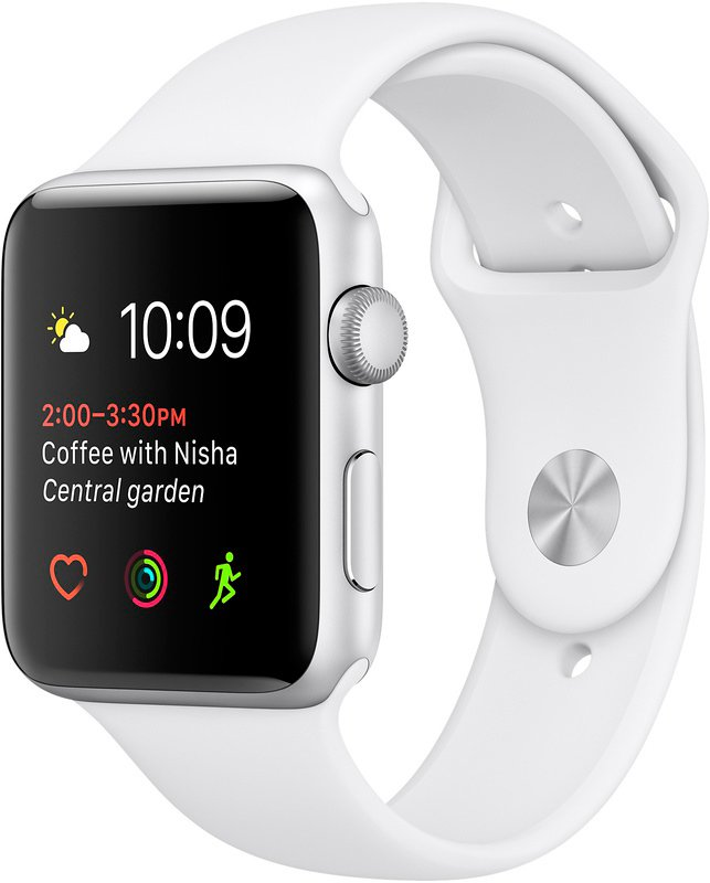 Смарт-часы Apple Watch Series 2 38mm Silver with White Sport Band (MNNW2)
