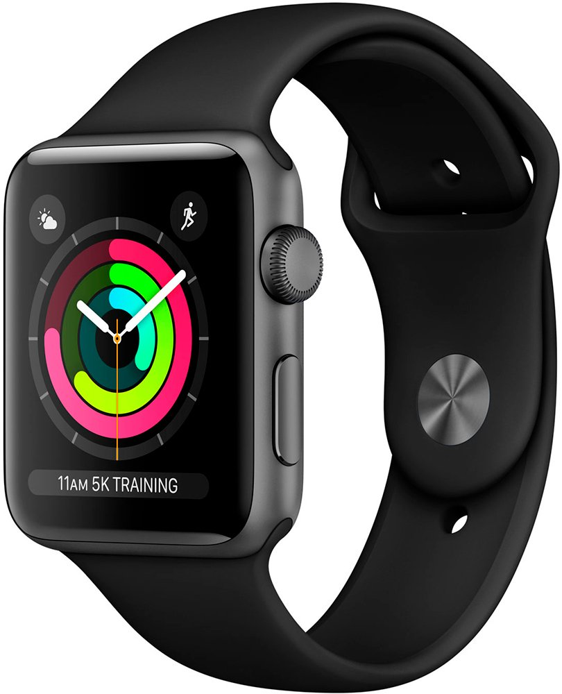 Смарт-часы Apple Watch Series 3 42mm Space Gray Aluminum Case with Black Sport Band (MQL12)