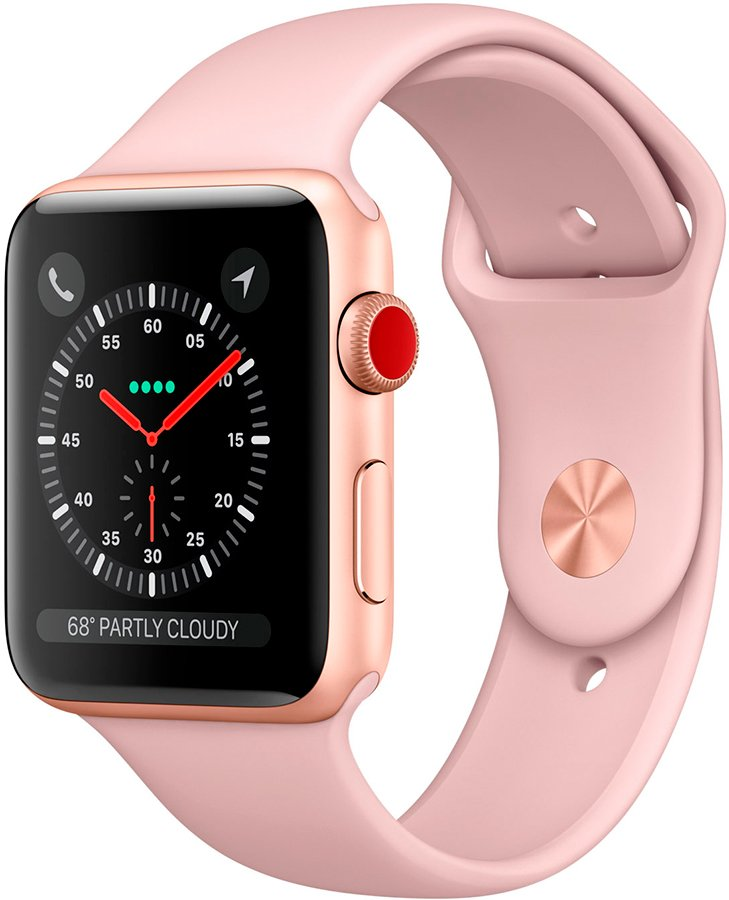Смарт-часы Apple Watch Series 3 LTE 42mm Gold Aluminum Case with Pink Sand Sport Band (MQK32)