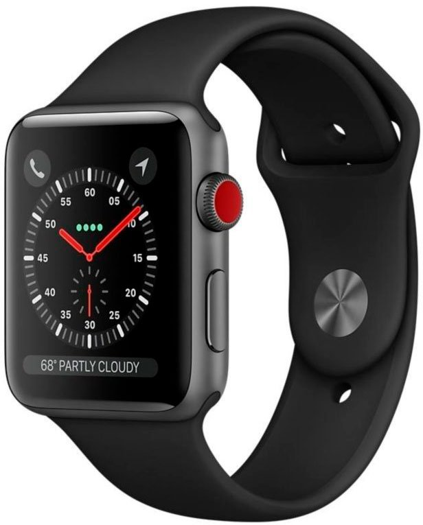 Смарт-часы Apple Watch Series 3 LTE 42mm Space Gray Aluminum Case with Black Sport Band (MQKN2)