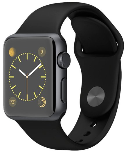 Смарт-часы Apple Watch Sport 38mm Space Gray with Black Sport Band (MJ2X2) фото