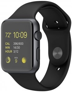 Смарт-часы Apple Watch Sport 42mm Space Gray with Black Sport Band (MJ3T2)