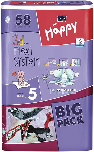 Подгузники BELLA baby Happy 5 JUNIOR (12-25 кг) Big Pack 58 шт