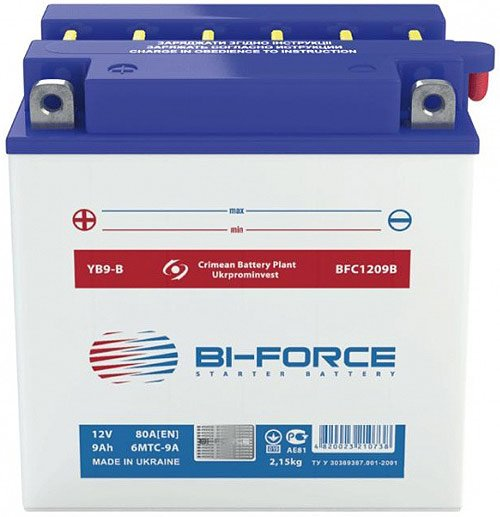 Аккумулятор Bi-Force 6MTC-9A (9Ah) (YB9-B)