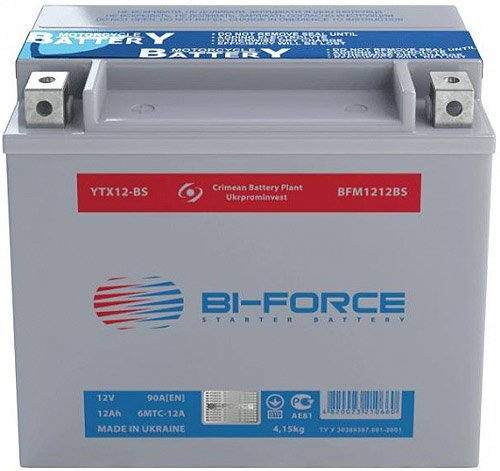 Аккумулятор Bi-Force AGM 6MTC-12A (12Ah) (YTX12-BS)