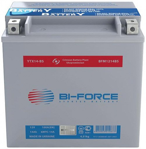 Аккумулятор Bi-Force AGM 6MTC-14A (14Ah) (YTX14-BS)