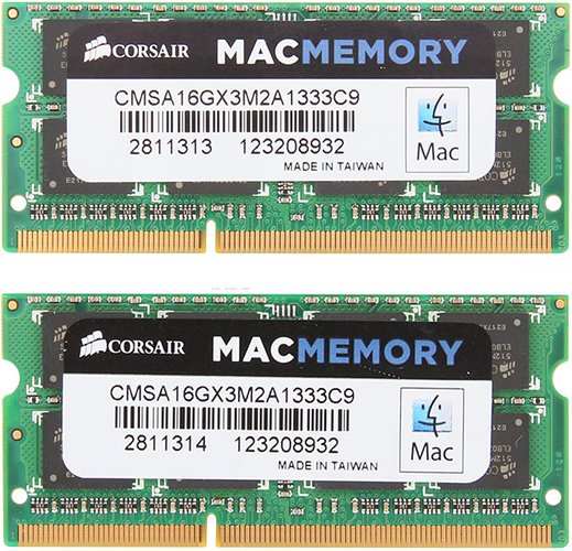 Комплект памяти Corsair MAC Memory CMSA16GX3M2A1333C9 DDR3 PC3-10600 2x8GB фото