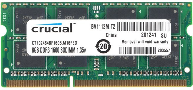 Модуль памяти Crucial CT102464BF160B DDR3 PC3-12800 8GB