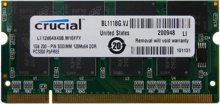Модуль памяти Crucial CT12864X40B DDR SO-DIMM PC3200 1GB