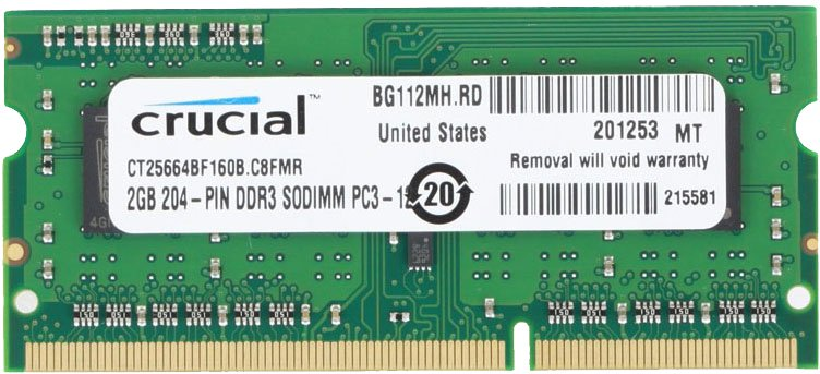 Модуль памяти Crucial CT25664BF160B DDR3 PC3-12800 2Gb