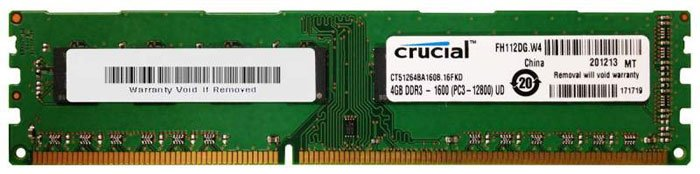 Модуль памяти Crucial CT51264BA160B DDR3 PC3-12800 4GB