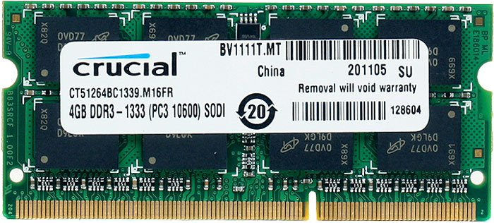 ������ ������ Crucial CT51264BC1339 DDR3 SO-DIMM PC3-10600 4GB