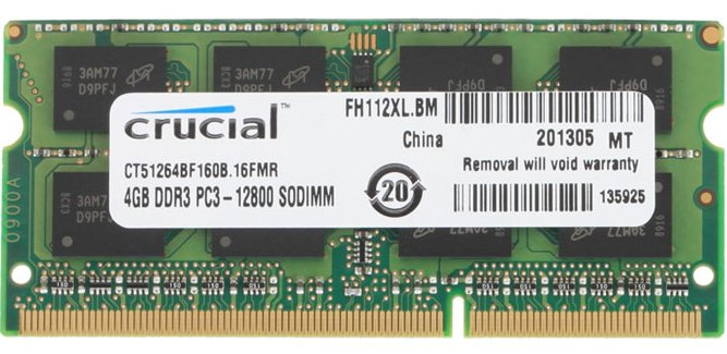 Модуль памяти Crucial CT51264BF160B DDR3 SO-DIMM PC3-12800 4GB  фото