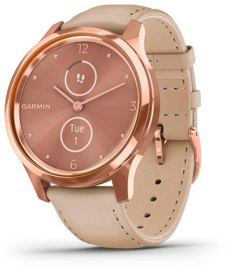 Гибридные смарт-часы Garmin Vivomove Luxe Rose Gold/Light Sand фото