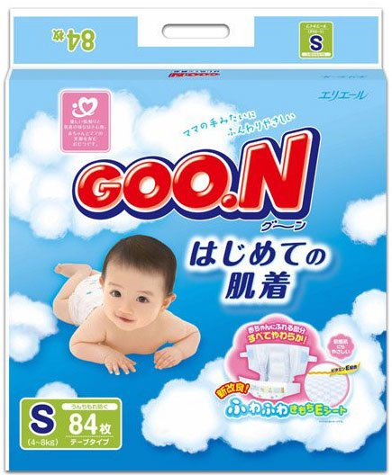 Подгузники GOON PREMIUM S (4-8 кг) Mega Pack 84 шт