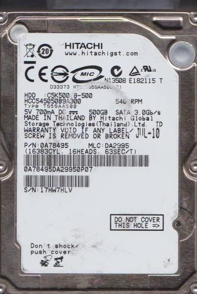 Жесткий диск Hitachi CinemaStar C5K500 (HCC545050B9A300) 500Gb фото