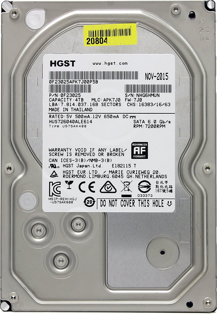 Жесткий диск Hitachi Ultrastar 7K6000 (HUS726040ALE614) 4000 Gb фото