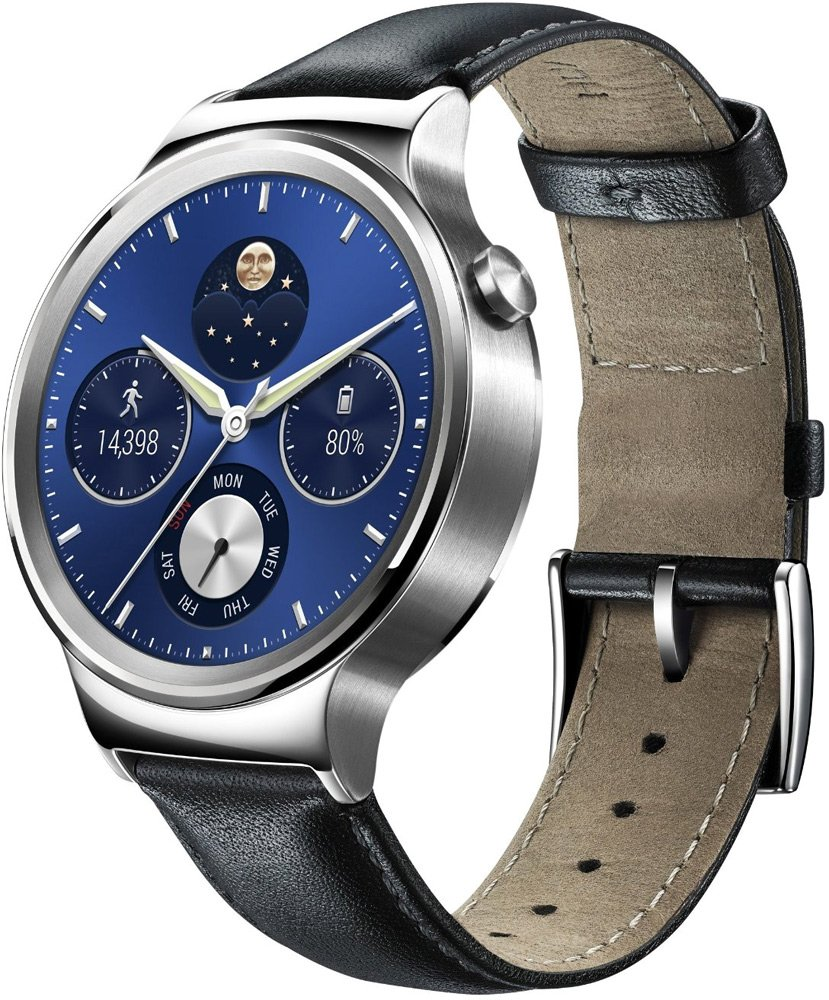 Смарт-часы Huawei Watch Classic Stainless Steel with Black Suture Leather Strap фото