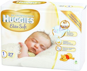 Подгузники HUGGIES Elite Soft 1 (2-5 кг) 27 шт
