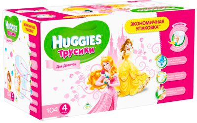Трусики HUGGIES Little Walkers 4 Girl Disney Box (9-14 кг) 104 шт