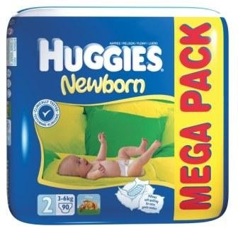 Подгузники Huggies Newborn 2 (3-6кг) Mega Pack 90 шт