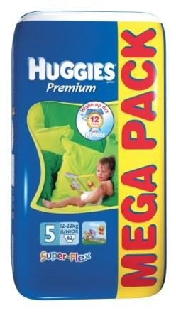 Подгузники Huggies Super Flex Premium 5 (12-22кг) Mega Pack 62 шт