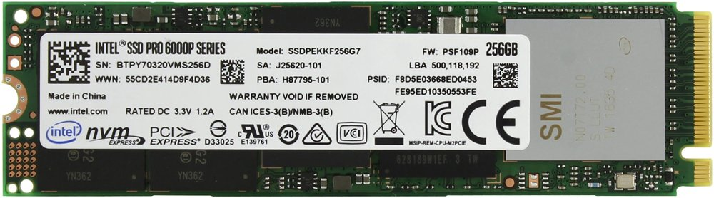 Жесткий диск SSD Intel Pro 6000p Series (SSDPEKKF256G7X1) 256Gb