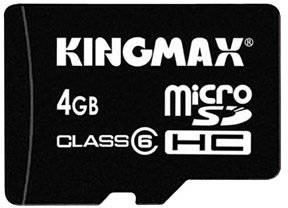Карта памяти Kingmax micro SDHC Class 4 Card 4GB + SD adapter
