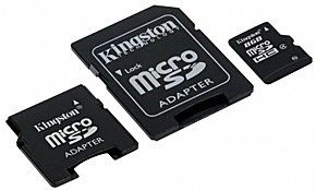 Карта памяти Kingston 8GB microSDHC w/ 2 Adapters SDC4/8GB-2ADP