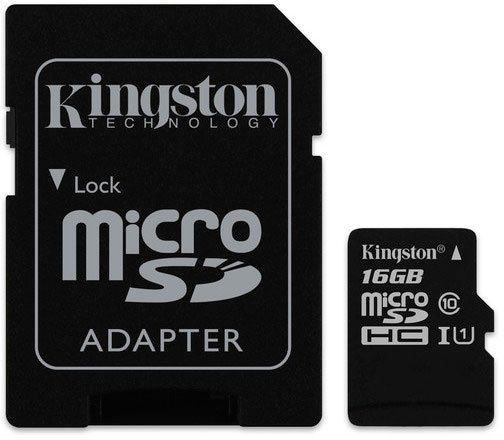 Карта памяти Kingston Canvas Select microSDHC 16Gb Class 10 UHS-I U1 + SD адаптер (SDCS/16GB) фото