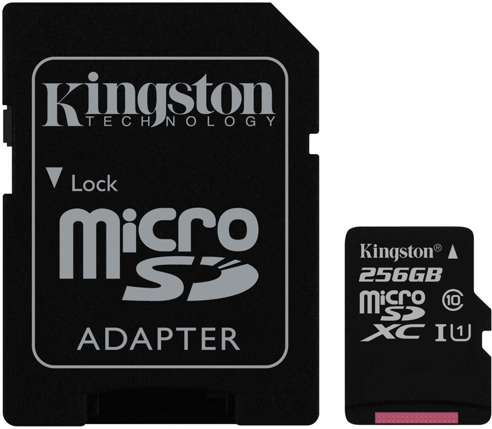 Карта памяти Kingston Canvas Select microSDXC 256Gb Class 10 UHS-I U1 + SD адаптер (SDCS/256GB) фото