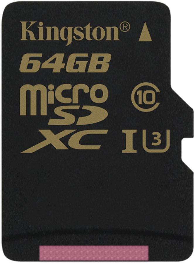 Карта памяти Kingston Gold microSDXC 64Gb Class 10 UHS-I U3 (SDCG/64GBSP)