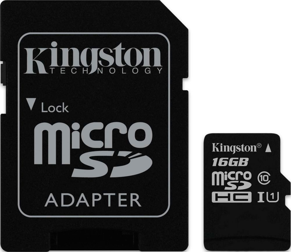 Карта памяти Kingston microSDHC 16Gb Class 10 UHS-I U1 + SD адаптер (SDC10G2/16GB)