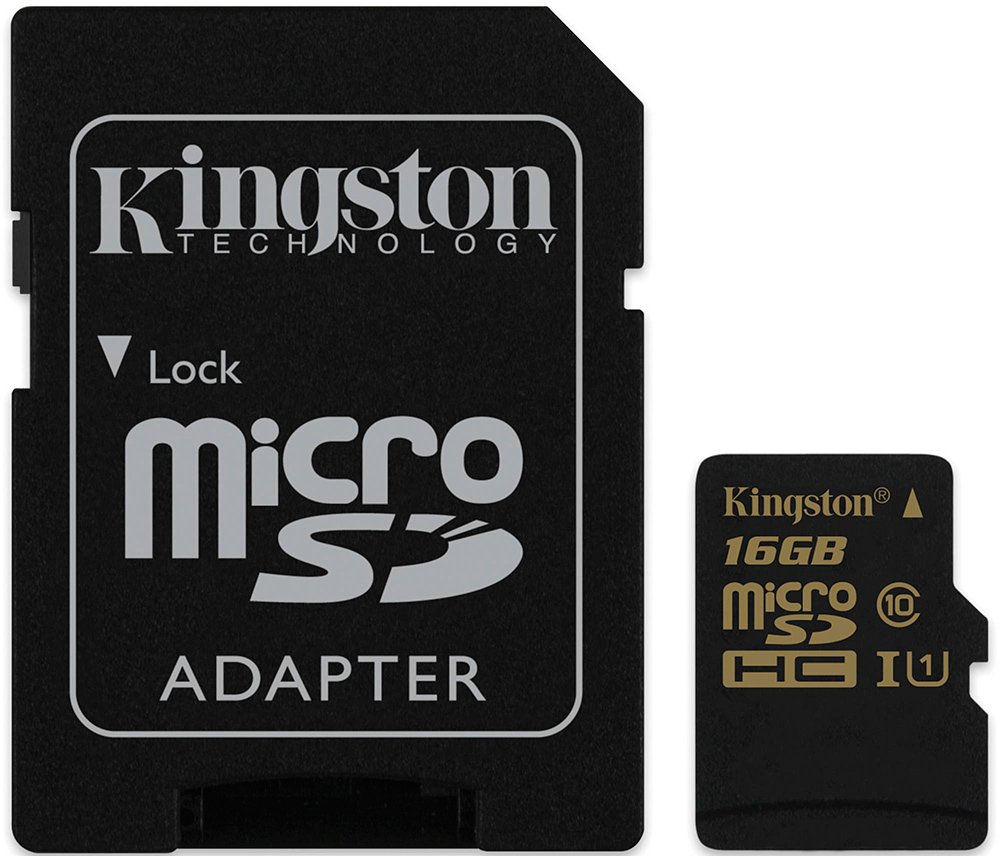 Карта памяти Kingston microSDHC 16Gb Class 10 UHS-I U1 + SD адаптер (SDCA10/16GB)