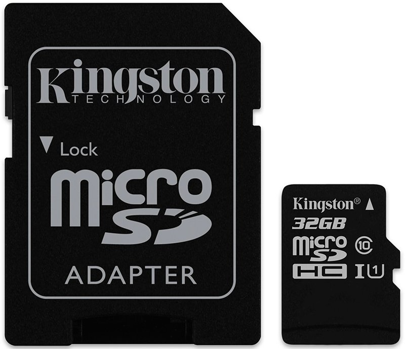 Карта памяти Kingston microSDHC 32Gb Class10 UHS-I U1 + SD адаптер (SDC10G2/32GB)