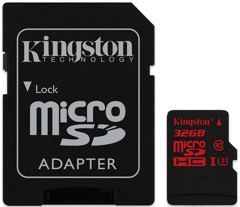 Карта памяти Kingston microSDHC 32Gb Class 10 UHS-I U3 + SD адаптер (SDCA3/32GB)