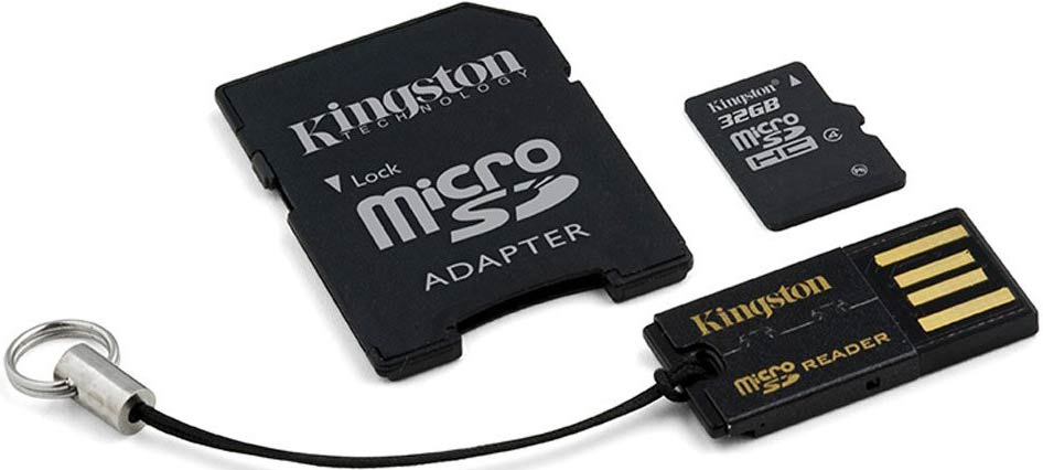 Карта памяти Kingston microSDHC 32Gb Class 4 + SD адаптер + USB картридер (MBLY4G2/32GB)  фото