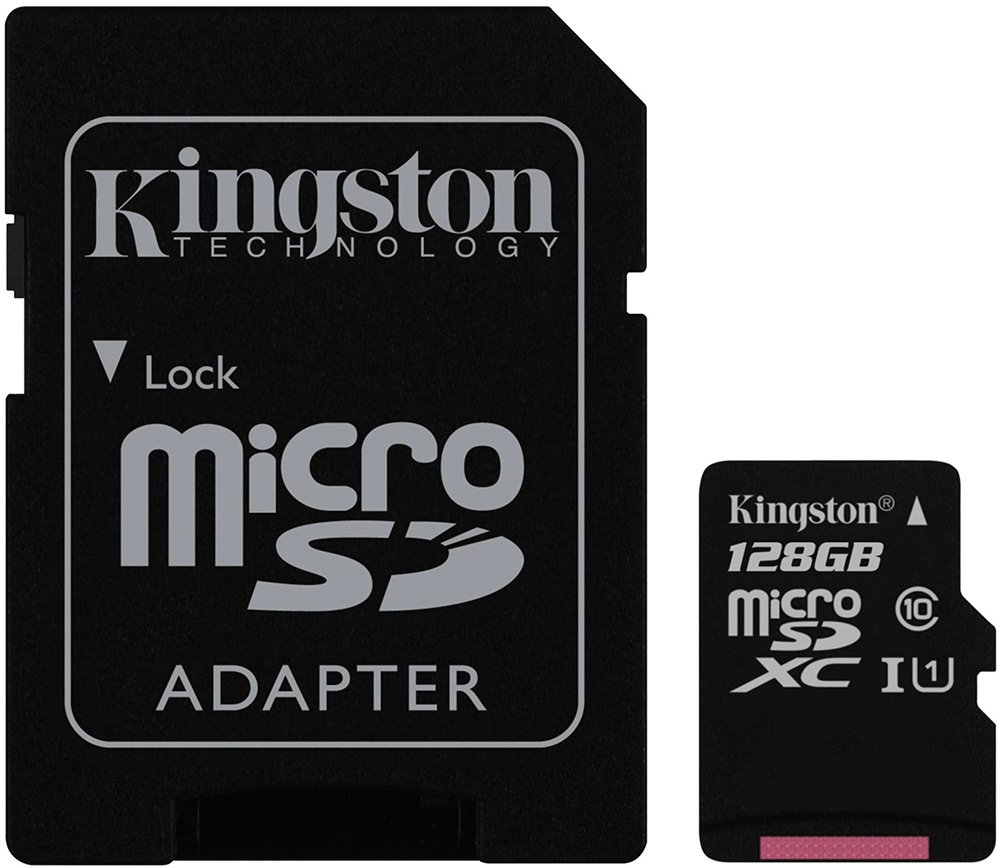 Карта памяти Kingston microSDXC 128Gb Class 10 UHS-I U1 + SD адаптер (SDC10G2/128GB)