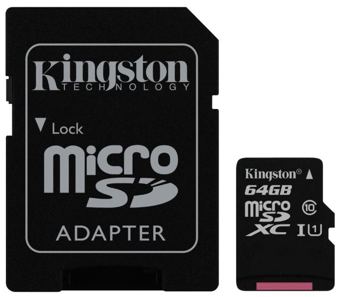 Карта памяти Kingston microSDXC 64Gb Class 10 UHS-I U1 + SD адаптер (SDC10G2/64GB)